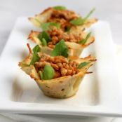 Spiced Pork in Parmesan Cups