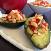 CADRY'S GRILLED AVOCADOS STUFFED WITH SMOKY HEARTS OF PALM SALSA. VEGAN GLUTENFREE