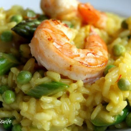 Asparagus, Pea and Saffron Risotto (with Shrimp)