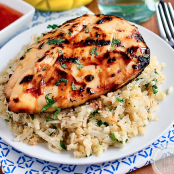 Sweet Chili Coconut-Lime Grilled Chicken with Coconut-Lime Cauliflower Rice
