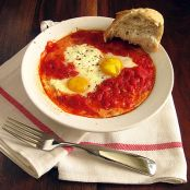 Baked Eggs In Tomato Sauce with Ricotta Cheese