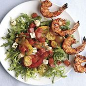 Grilled Shrimp Salad with Feta, Tomato, and Watermelonon