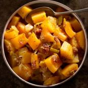 BITTERSWEET SQUASH WITH PANCETTA AND LEEKS