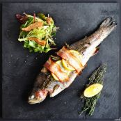 Pancetta-wrapped Trout with Honey Balsamic Salad