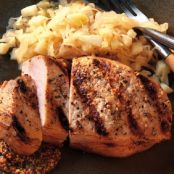 CIDER BRINDER PORK CHOPS WITH APPLE SAUERKRAUT