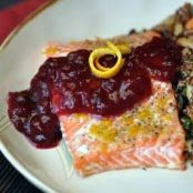 Roasted Salmon with Cranberry Mustard Sauce