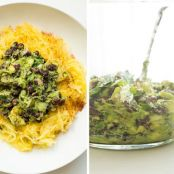 Tex Mex Spaghetti Squash with Black Bean Guacamole