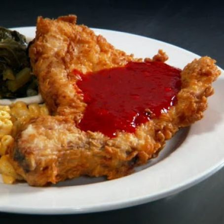 Deep Fried Pork Chops with Sweet and Spicy Red Pepper Jelly
