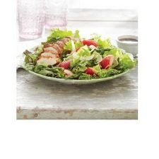 Arugula Salad with Parmesan-Crusted Chicken, Asparagus and Strawberries PRINT