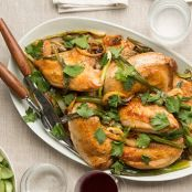 Roasted Chicken with Lemon, Ramps and Green Olives