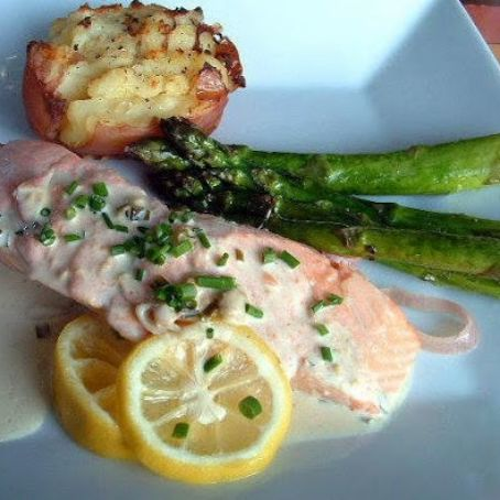 Poached Salmon with Dijon Cream Sauce