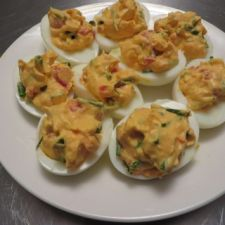 Roasted Red Pepper & Chives Deviled Eggs