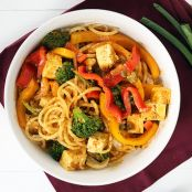 Vegetable & Tofu Coconut Red Curry Daikon Noodles