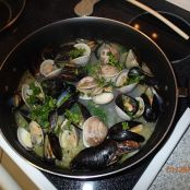 Mussels and Clams over shell pasta
