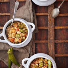 Slow Cooker Vegan White Bean Quinoa Gumbo