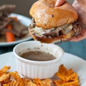 Slow Cooker Beef Brisket French Dip Sandwiches