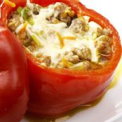 Stuffed Bell Peppers with Ground Beef & Cheese