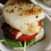 Seared Scallop BLT with Candied Maple Bacon