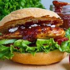 Strawberry BBQ Chicken Club Sandwich with Bacon, Avocado and Goat Cheese
