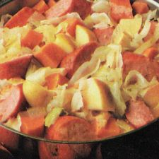 Smoked Sausage With Cabbage Sweet Potatoes And Apple