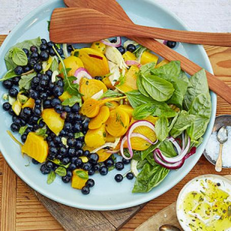 Blueberry, Beet, and Basil Summer Salad