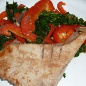 Asian Ahi Tuna with Kale and Red Peppers