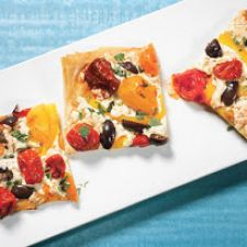 Phyllo Pizza with Smoked Mozzarella and cherry tomoatoes