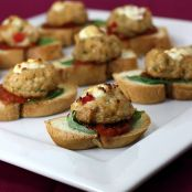 Goat Cheese-Stuffed Chicken Meatball Crostini