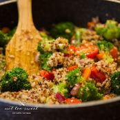 Broccoli, Asparagus and Quinoa Stir Fry