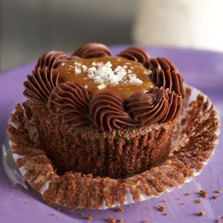 Salted Caramel-Chocolate Bourbon Cupcakes