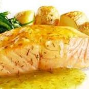Sear-roasted Salmon with Lemon-Rosemary Butter Sauce