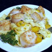 Pappardelle with sage butter sauce, roasted acorn squash and pan seared scallops