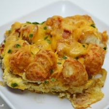 Cheesy Tater Tot Sausage and Bacon Casserole