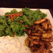 Shrimp; Curry-rubbed Grilled Shrimp with Minted Yogurt
