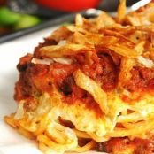 Spaghetti Casserole topped with French Fried Onions