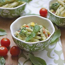 Penne Primavera with Avocado Cashew Cream