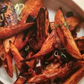 ROASTED SWEET POTATO SPEARS WITH BACON VINAIGRETTE