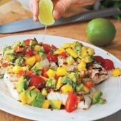 Fish: Grilled Halibut with Mango-Avocado Salsa