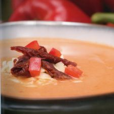 Red Pepper Soup with Sun Dried Tomatoes & Swiss Cheese