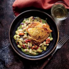 Crispy Chicken Thighs with White Beans