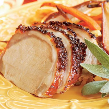 Glazed Pork Roast with Carrots, Parsnips & Pears
