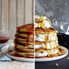 Buttermilk Pancakes with Cranberry-Maple Syrup