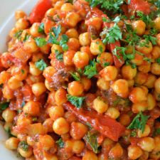 Moroccan Garbanzo Beans with Roasted Peppers