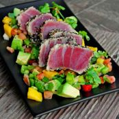 Seared Sesame Tuna & Grilled Avocado-Mango Salsa