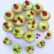 Ladybug and Flower Cupcakes