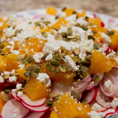 Radish, Orange & Goat Cheese Salad