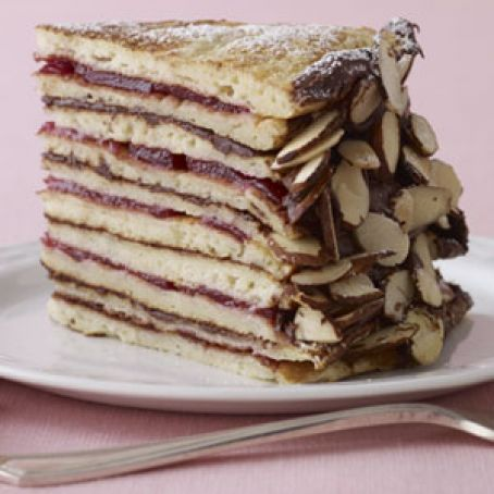 Chocolate-Cranberry Pancake Cake