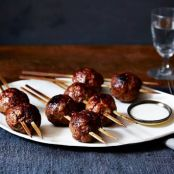 Grilled Veal Tsukune Meatballs With Ginger-Buttermilk Sauce