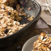 Baked Oatmeal with Blueberries, Almonds and Coconut Milk