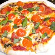 Grilled Pizza with Fontina, Cherry Tomatoes